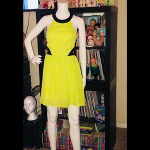 Chartreuse Neon Yellow Mini cutout Dress Rampage
